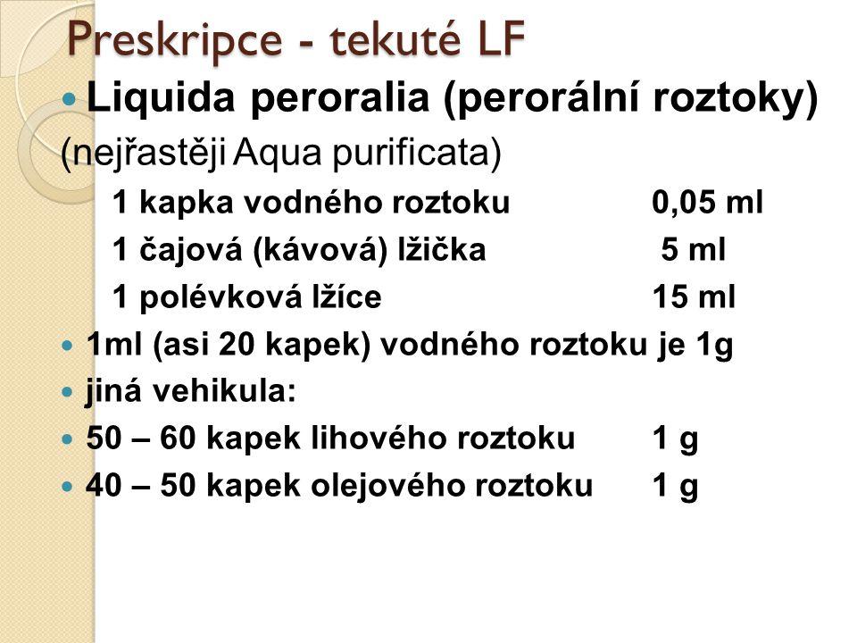 Preskripce - tekuté LF Liquida peroralia (perorální roztoky) (nejřastěji Aqua purificata) 1 kapka vodného roztoku 0,05 ml 1 čajová (kávová) lžička 5 m