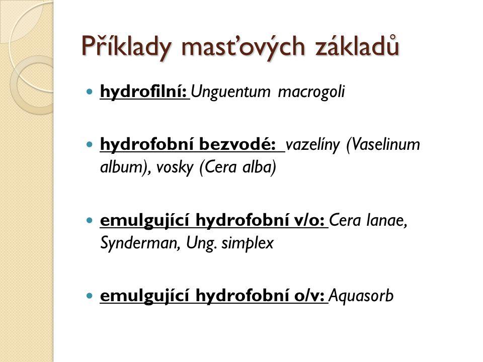 Příklady masťových základů hydrofilní: Unguentum macrogoli hydrofobní bezvodé: vazelíny (Vaselinum album), vosky (Cera alba) emulgující hydrofobní v/o