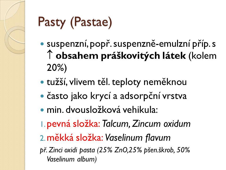 Pasty (Pastae) suspenzní, popř. suspenzně-emulzní příp. s  obsahem práškovitých látek (kolem 20%) tužší, vlivem těl. teploty neměknou často jako kryc