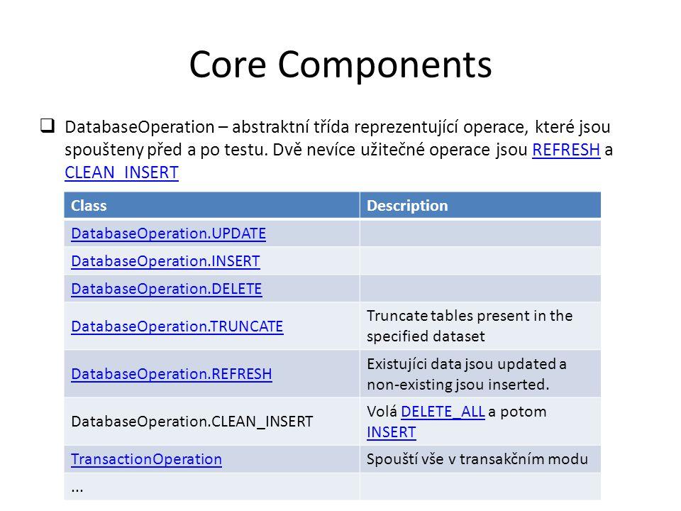 Core Components  DatabaseOperation – abstraktní třída reprezentující operace, které jsou spoušteny před a po testu.