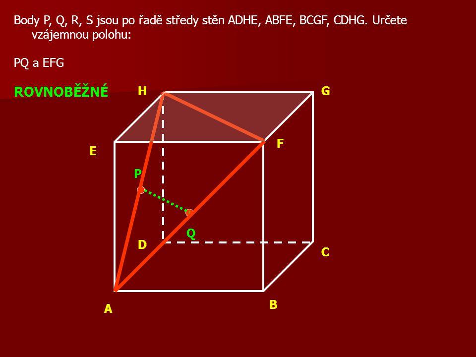 A B C D E F GH Body P, Q, R, S jsou po řadě středy stěn ADHE, ABFE, BCGF, CDHG.