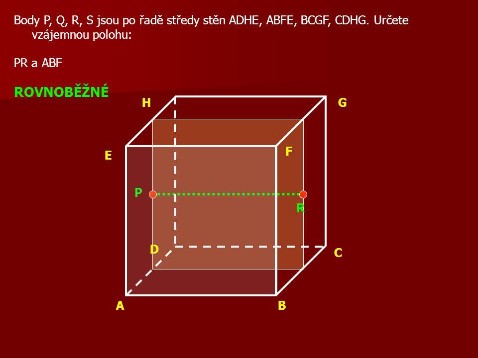 AB C D E F GH Body P, Q, R, S jsou po řadě středy stěn ADHE, ABFE, BCGF, CDHG.