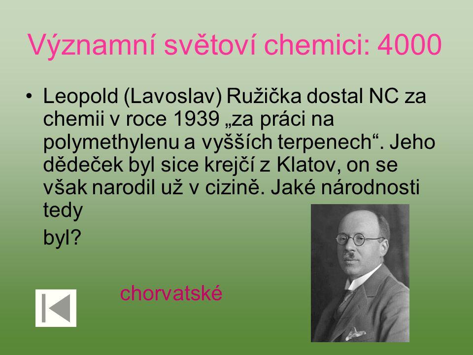 """Významní světoví chemici: 4000 Leopold (Lavoslav) Ružička dostal NC za chemii v roce 1939 """"za práci na polymethylenu a vyšších terpenech"""". Jeho dědeče"""