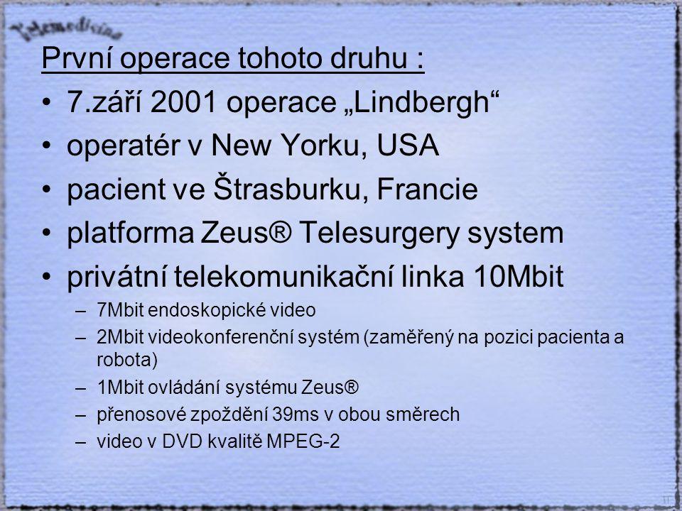 """První operace tohoto druhu : 7.září 2001 operace """"Lindbergh operatér v New Yorku, USA pacient ve Štrasburku, Francie platforma Zeus® Telesurgery system privátní telekomunikační linka 10Mbit –7Mbit endoskopické video –2Mbit videokonferenční systém (zaměřený na pozici pacienta a robota) –1Mbit ovládání systému Zeus® –přenosové zpoždění 39ms v obou směrech –video v DVD kvalitě MPEG-2"""