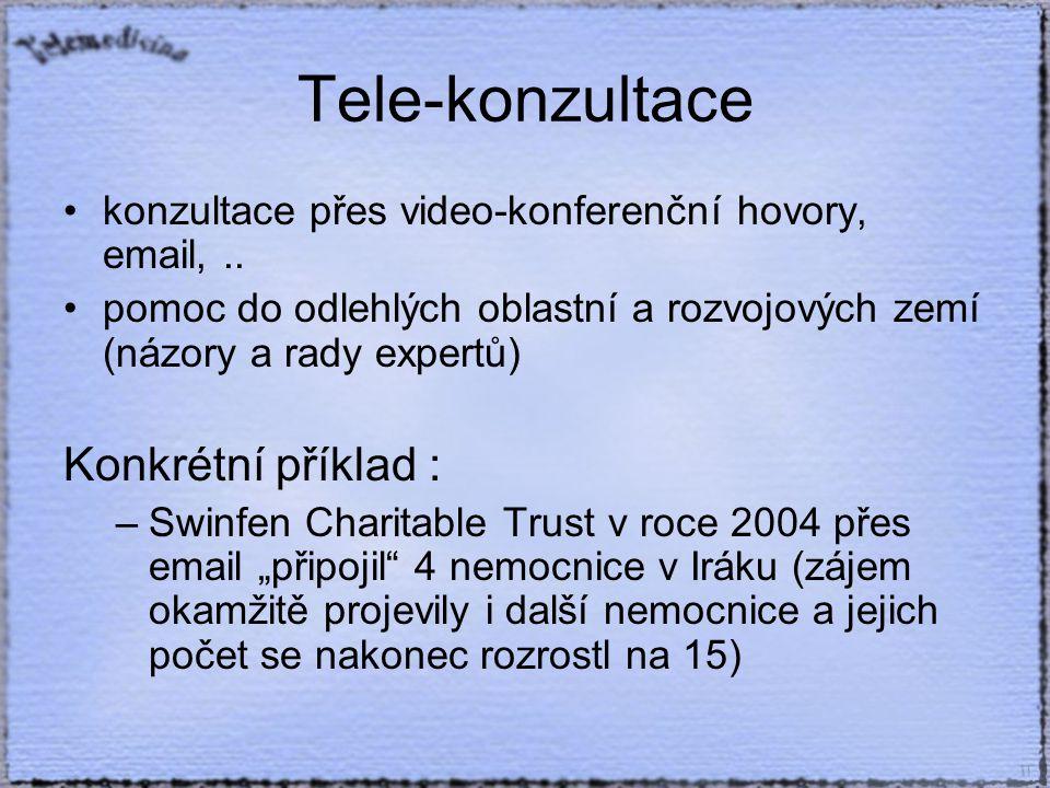 Tele-konzultace konzultace přes video-konferenční hovory, email,..