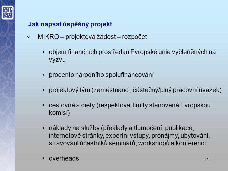 11 Jak napsat úspěšný projekt MIKRO – projektová žádost – obsah obsah projektu musí být v souladu s požadavky výzvy Evropské komise uvést předchozí zkušenosti se zpracováním projektů či s účastí na jiných projektech (např.