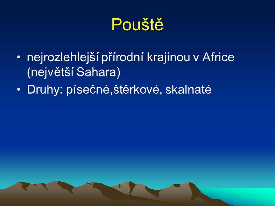 Pouště nejrozlehlejší přírodní krajinou v Africe (největší Sahara) Druhy: písečné,štěrkové, skalnaté