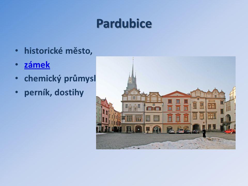 Pardubice historické město, zámek chemický průmysl perník, dostihy