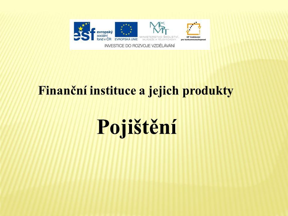 Finanční instituce a jejich produkty Pojištění