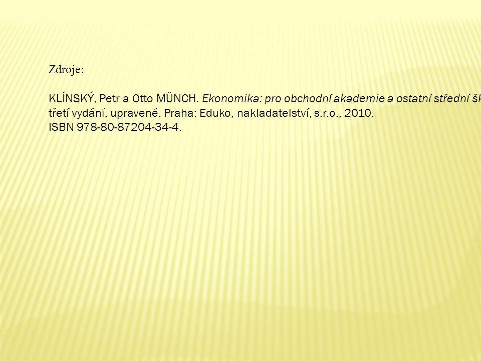 Zdroje: KLÍNSKÝ, Petr a Otto MÜNCH. Ekonomika: pro obchodní akademie a ostatní střední školy.