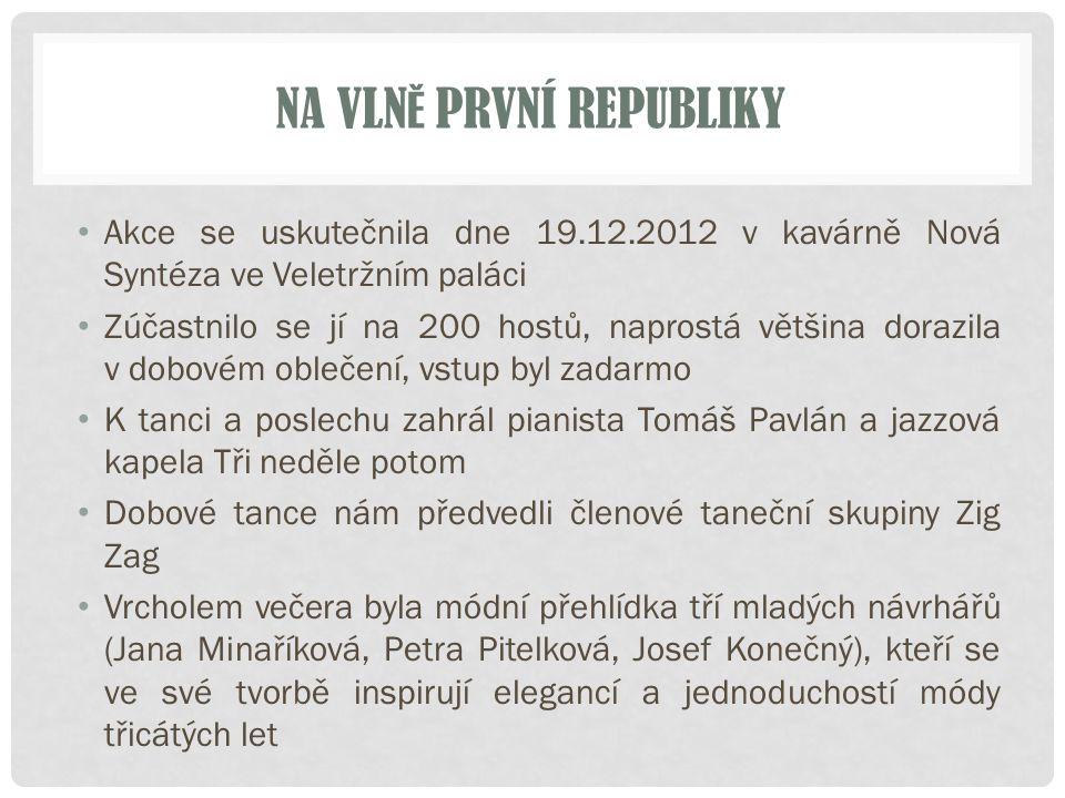 NA VLN Ě PRVNÍ REPUBLIKY Akce se uskutečnila dne 19.12.2012 v kavárně Nová Syntéza ve Veletržním paláci Zúčastnilo se jí na 200 hostů, naprostá většin