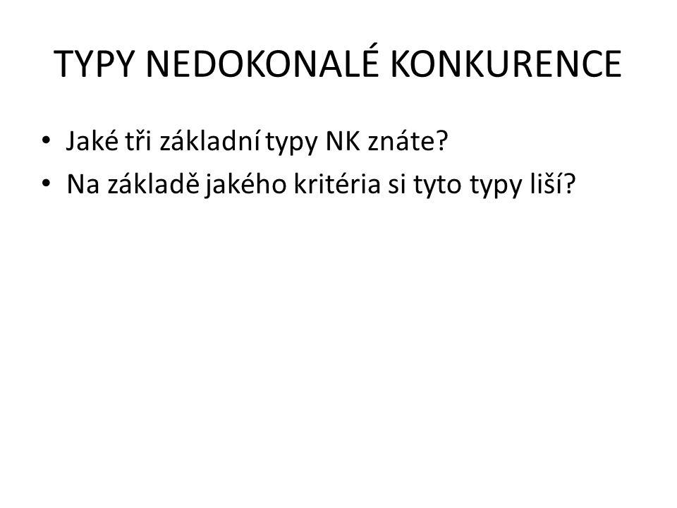 TYPY NEDOKONALÉ KONKURENCE Jaké tři základní typy NK znáte? Na základě jakého kritéria si tyto typy liší?