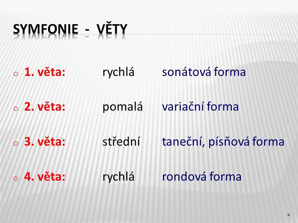 o 1. věta:rychlásonátová forma o 2. věta:pomalávariační forma o 3.