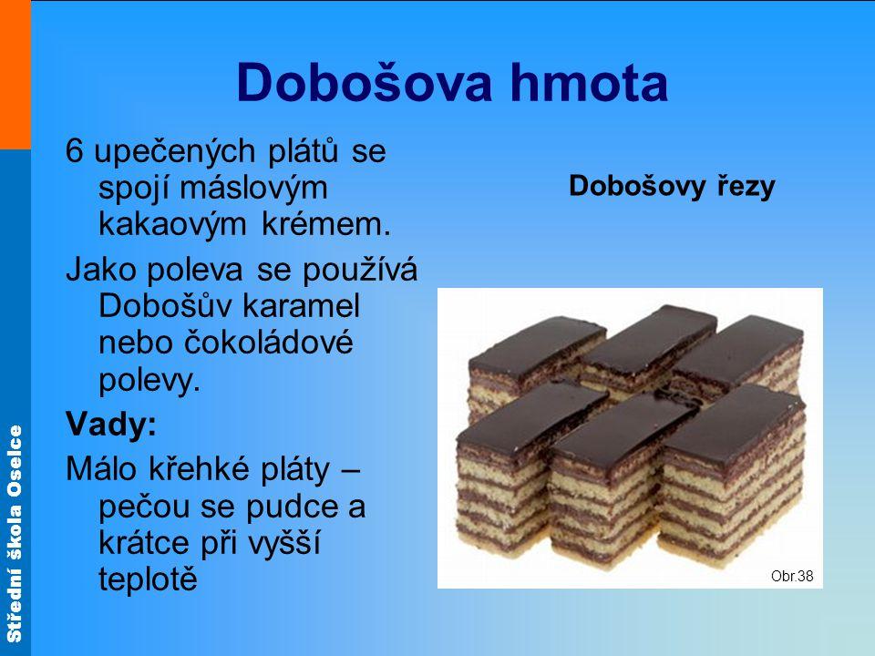 Střední škola Oselce Dobošova hmota 6 upečených plátů se spojí máslovým kakaovým krémem. Jako poleva se používá Dobošův karamel nebo čokoládové polevy