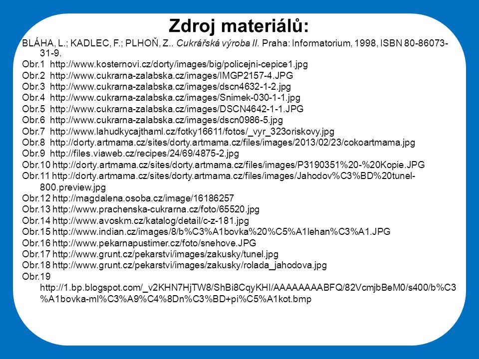 Střední škola Oselce Zdroj materiálů: BLÁHA, L.; KADLEC, F.; PLHOŇ, Z.. Cukrářská výroba II. Praha: Informatorium, 1998, ISBN 80-86073- 31-9. Obr.1 ht