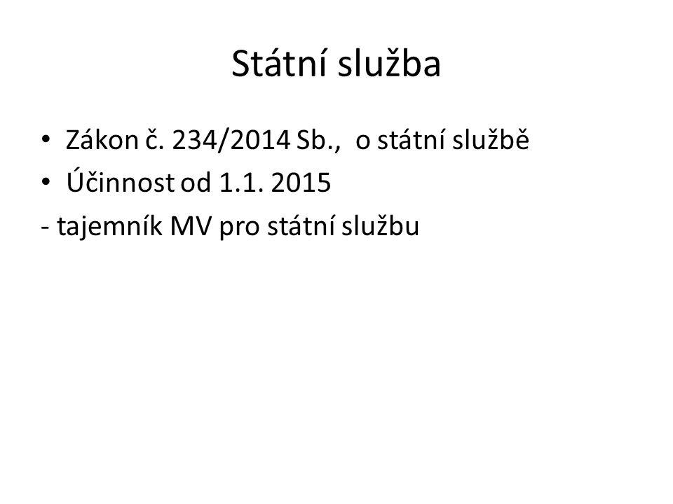 Státní služba Zákon č. 234/2014 Sb., o státní službě Účinnost od 1.1. 2015 - tajemník MV pro státní službu