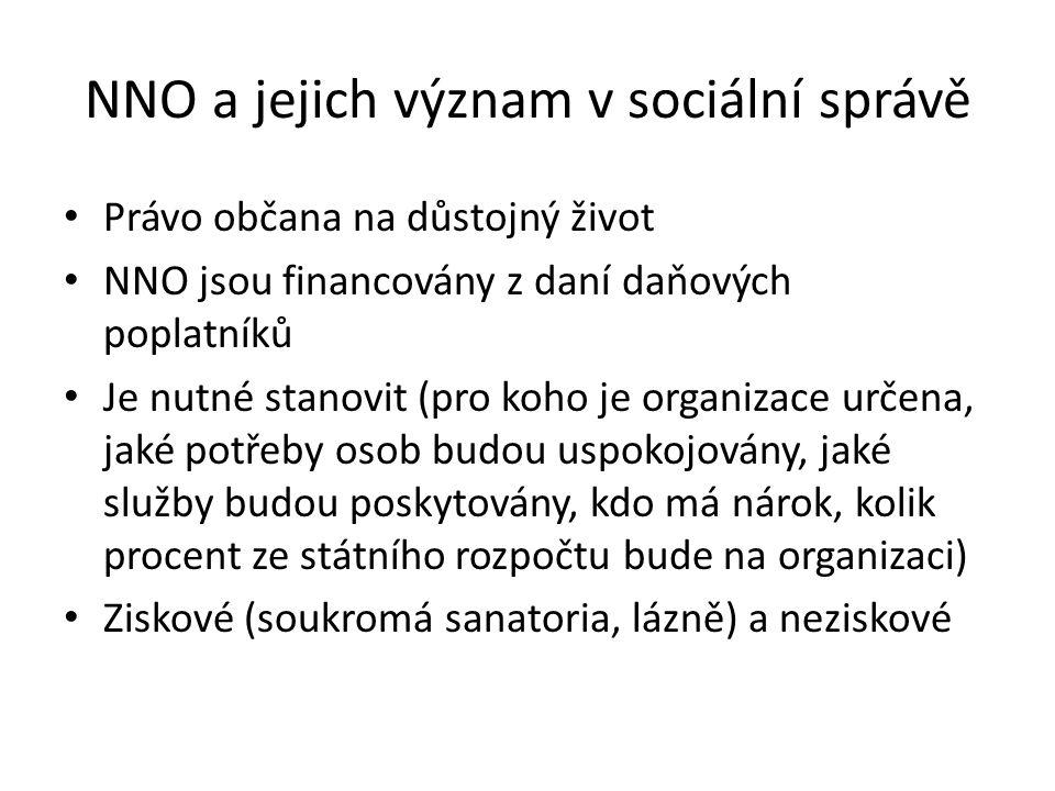 NNO a jejich význam v sociální správě Právo občana na důstojný život NNO jsou financovány z daní daňových poplatníků Je nutné stanovit (pro koho je or