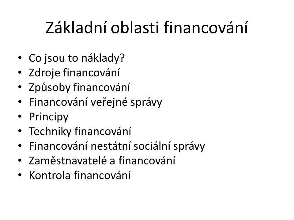 Základní oblasti financování Co jsou to náklady? Zdroje financování Způsoby financování Financování veřejné správy Principy Techniky financování Finan