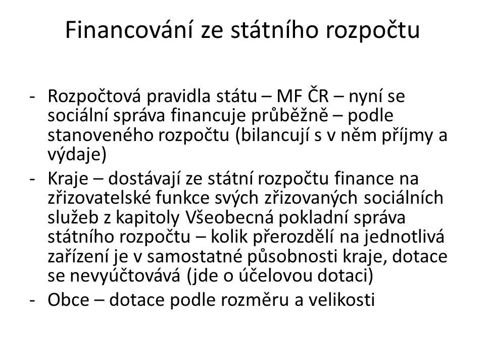 Financování ze státního rozpočtu -Rozpočtová pravidla státu – MF ČR – nyní se sociální správa financuje průběžně – podle stanoveného rozpočtu (bilancu