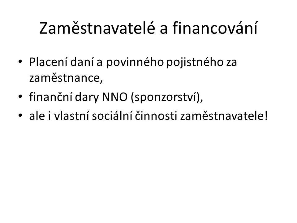Zaměstnavatelé a financování Placení daní a povinného pojistného za zaměstnance, finanční dary NNO (sponzorství), ale i vlastní sociální činnosti zamě