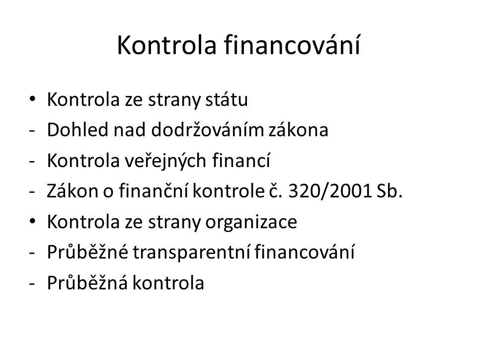 Kontrola financování Kontrola ze strany státu -Dohled nad dodržováním zákona -Kontrola veřejných financí -Zákon o finanční kontrole č. 320/2001 Sb. Ko