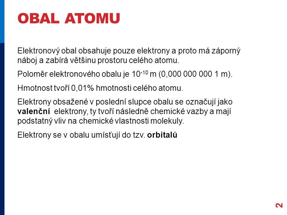 OBAL ATOMU 2 Elektronový obal obsahuje pouze elektrony a proto má záporný náboj a zabírá většinu prostoru celého atomu.