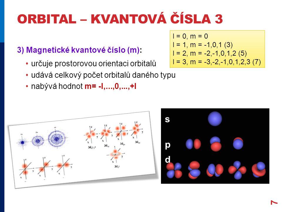ORBITAL – KVANTOVÁ ČÍSLA 3 7 3) Magnetické kvantové číslo (m): určuje prostorovou orientaci orbitalů udává celkový počet orbitalů daného typu nabývá hodnot m= -l,...,0,...,+l s p d l = 0, m = 0 l = 1, m = -1,0,1 (3) l = 2, m = -2,-1,0,1,2 (5) l = 3, m = -3,-2,-1,0,1,2,3 (7)