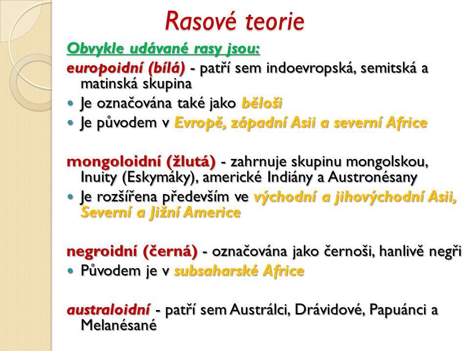 Rasové teorie Obvykle udávané rasy jsou: europoidní (bílá) - patří sem indoevropská, semitská a matinská skupina Je označována také jako běloši Je označována také jako běloši Je původem v Evropě, západní Asii a severní Africe Je původem v Evropě, západní Asii a severní Africe mongoloidní (žlutá) - zahrnuje skupinu mongolskou, Inuity (Eskymáky), americké Indiány a Austronésany Je rozšířena především ve východní a jihovýchodní Asii, Severní a Jižní Americe Je rozšířena především ve východní a jihovýchodní Asii, Severní a Jižní Americe negroidní (černá) - označována jako černoši, hanlivě negři Původem je v subsaharské Africe Původem je v subsaharské Africe australoidní - patří sem Austrálci, Drávidové, Papuánci a Melanésané