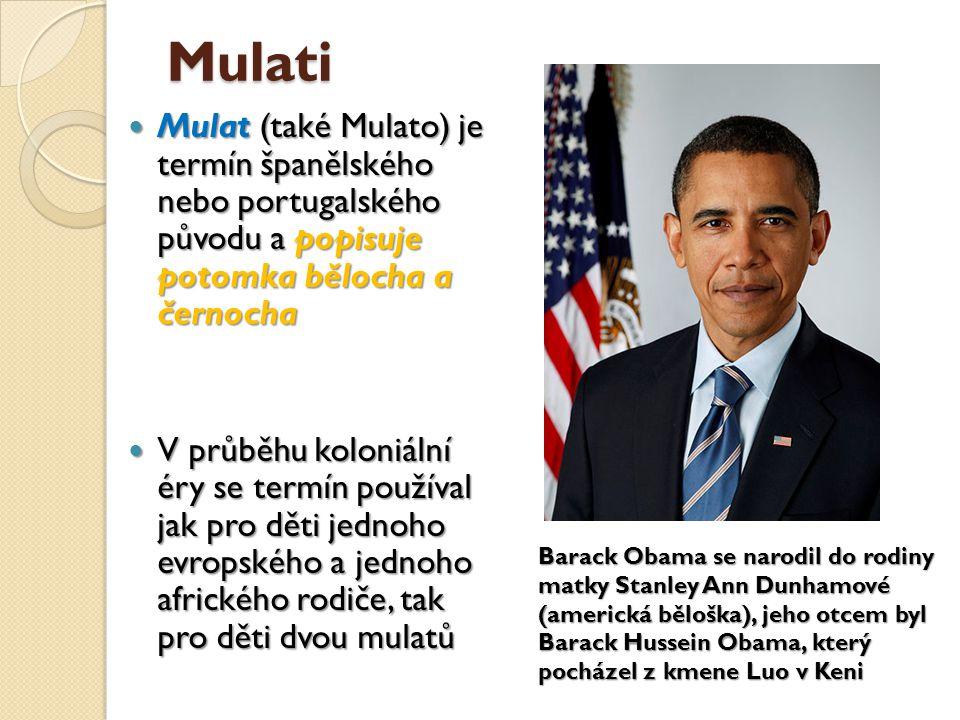 Mulati Mulat (také Mulato) je termín španělského nebo portugalského původu a popisuje potomka bělocha a černocha Mulat (také Mulato) je termín španěls
