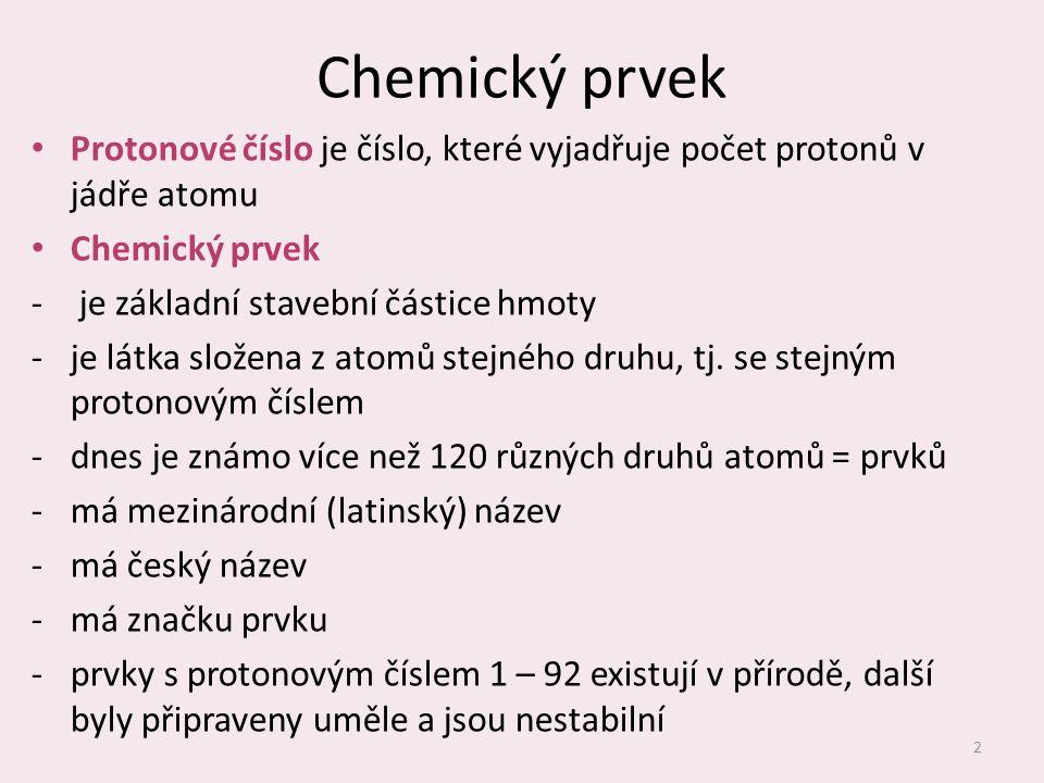 Chemický prvek Protonové číslo je číslo, které vyjadřuje počet protonů v jádře atomu Chemický prvek ‐ je základní stavební částice hmoty ‐je látka složena z atomů stejného druhu, tj.