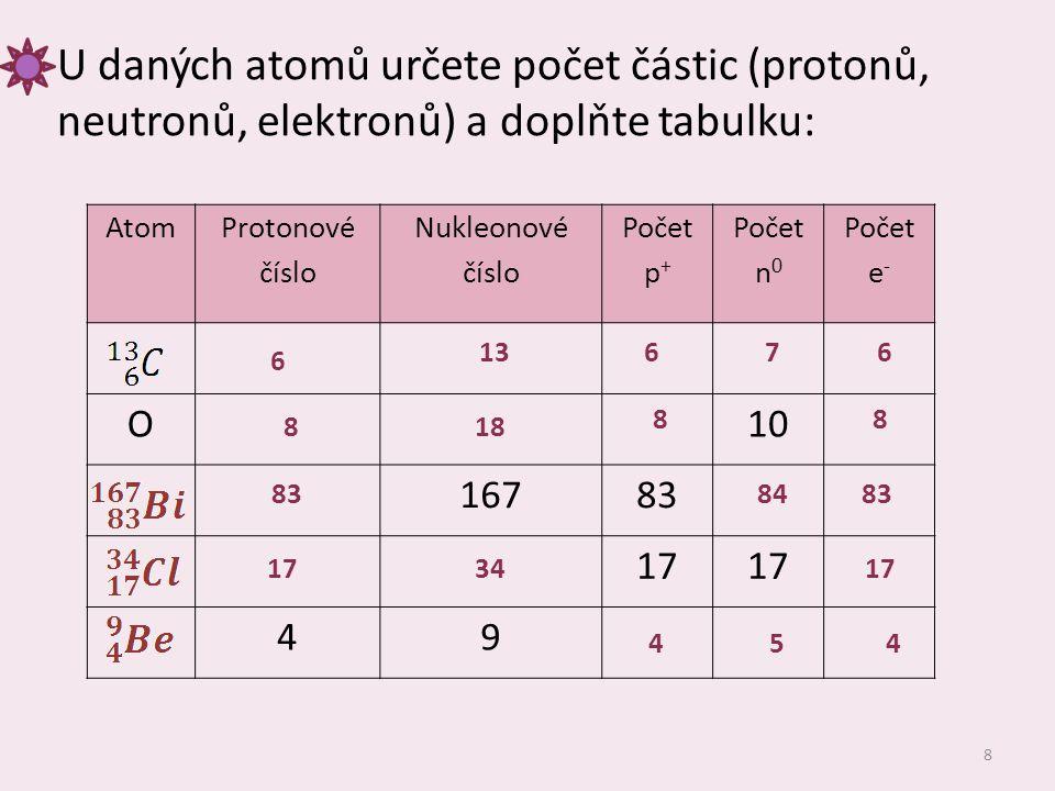 8 U daných atomů určete počet částic (protonů, neutronů, elektronů) a doplňte tabulku: Atom Protonové číslo Nukleonové číslo Počet p + Počet n 0 Počet e - O10 16783 17 49 6 13676 818 88 838483 173417 454
