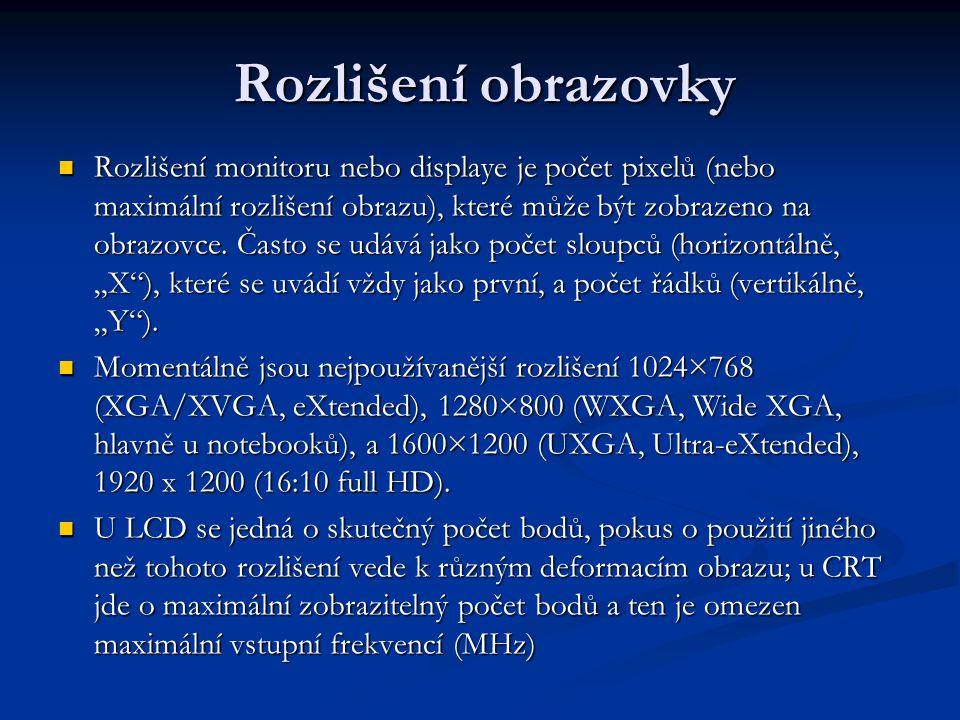 Vstupy, spotřeba V současnosti se používají D-sub (15pinový, analogový), DVI (kombinovaný digitální a analogový) nebo HDMI (digitální pro přenos videa ve vysokém rozlišení, zpětně kompatibilní s DVI), některé monitory mohou mít ještě oddělené RGB (analogové) vstupy V současnosti se používají D-sub (15pinový, analogový), DVI (kombinovaný digitální a analogový) nebo HDMI (digitální pro přenos videa ve vysokém rozlišení, zpětně kompatibilní s DVI), některé monitory mohou mít ještě oddělené RGB (analogové) vstupy Dalším zajímavým parametrem je elektrická spotřeba (W, u LCD je poloviční až třetinová proti CRT o stejné úhlopříčce), spotřeba ve stavu spánku, při plném výkonu.