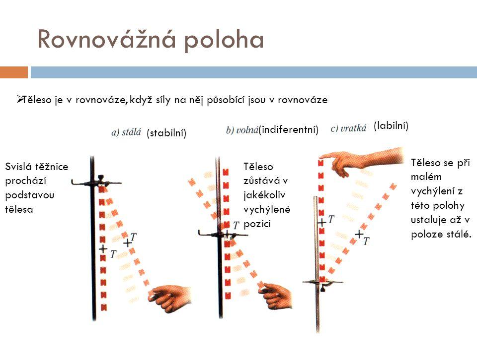 Rovnovážná poloha  Těleso je v rovnováze, když síly na něj působící jsou v rovnováze Svislá těžnice prochází podstavou tělesa Těleso zůstává v jakéko