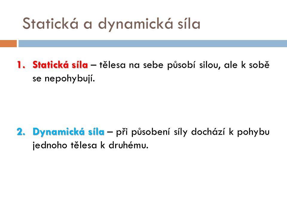 Statická a dynamická síla 1.Statická síla 1.Statická síla – tělesa na sebe působí silou, ale k sobě se nepohybují. 2.Dynamická síla 2.Dynamická síla –