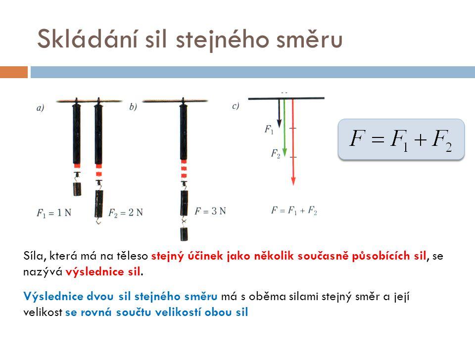 Skládání sil stejného směru Síla, která má na těleso stejný účinek jako několik současně působících sil, se nazývá výslednice sil. Výslednice dvou sil