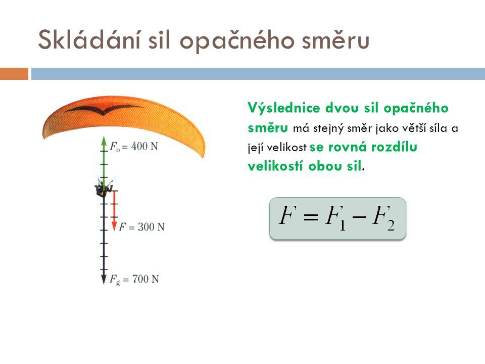 Skládání sil opačného směru Výslednice dvou sil opačného směru má stejný směr jako větší síla a její velikost se rovná rozdílu velikostí obou sil.