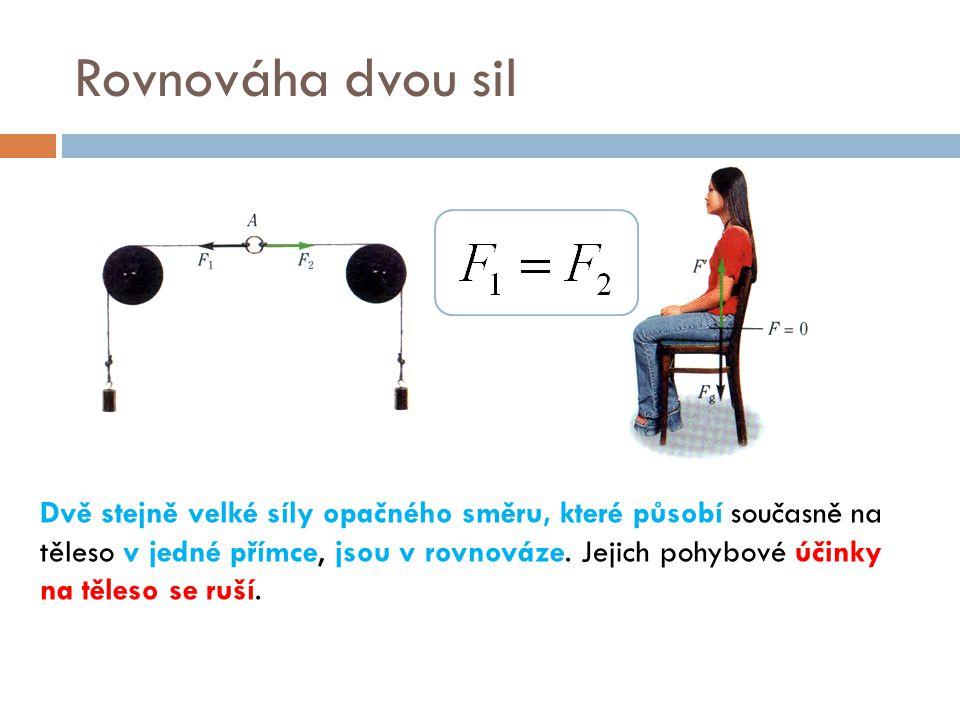 Rovnováha dvou sil Dvě stejně velké síly opačného směru, které působí současně na těleso v jedné přímce, jsou v rovnováze. Jejich pohybové účinky na t