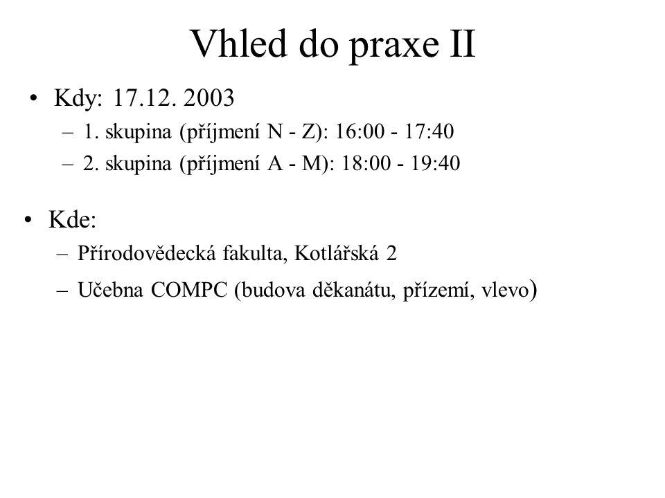 Vhled do praxe II Kdy: 17.12. 2003 –1. skupina (příjmení N - Z): 16:00 - 17:40 –2.