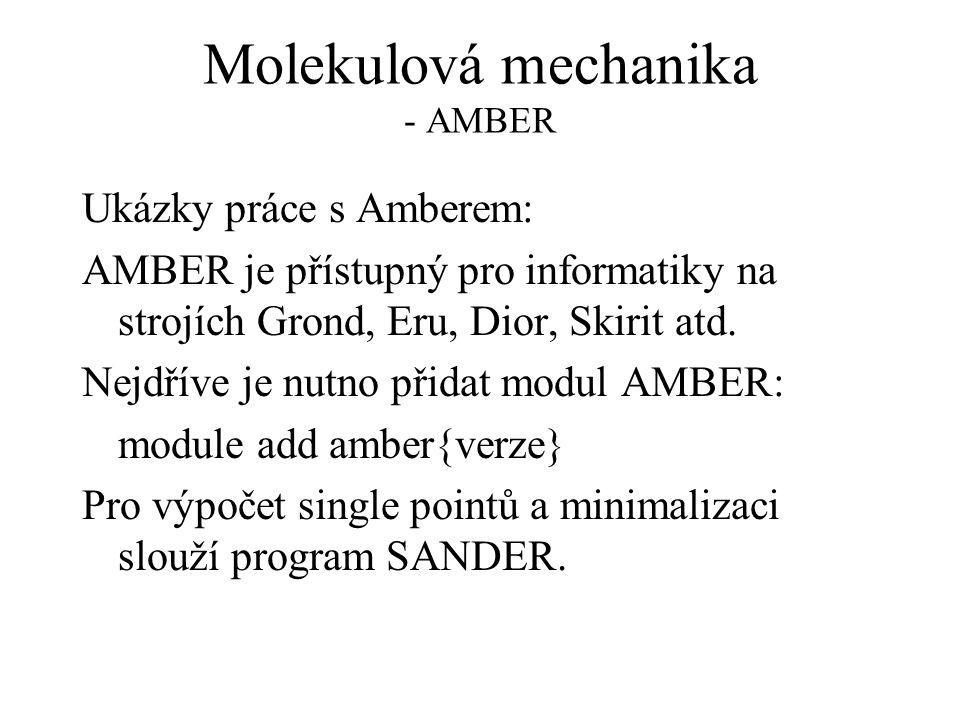 Molekulová mechanika - AMBER Ukázky práce s Amberem: AMBER je přístupný pro informatiky na strojích Grond, Eru, Dior, Skirit atd.