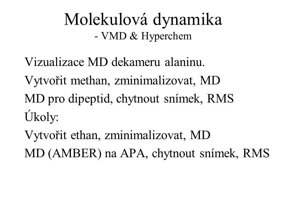 Molekulová dynamika - VMD & Hyperchem Vizualizace MD dekameru alaninu.