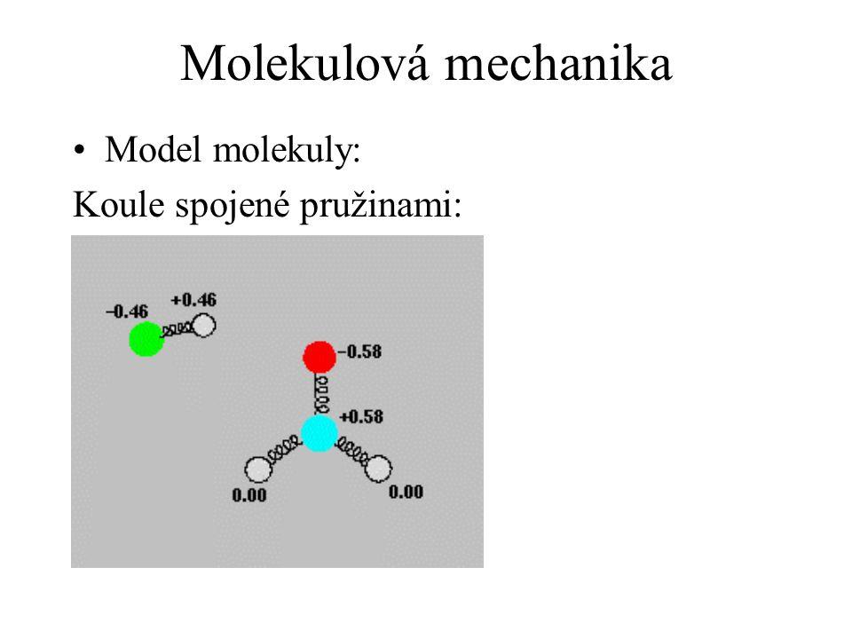 Molekulová mechanika Výpočet energie molekuly: Potenciálová funkce: + silové pole (= soubor parametrů, využitých v potenciálové funkci)