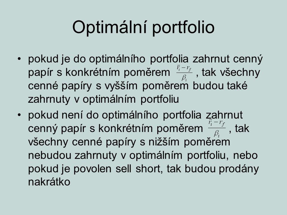 Optimální portfolio pokud je do optimálního portfolia zahrnut cenný papír s konkrétním poměrem, tak všechny cenné papíry s vyšším poměrem budou také z