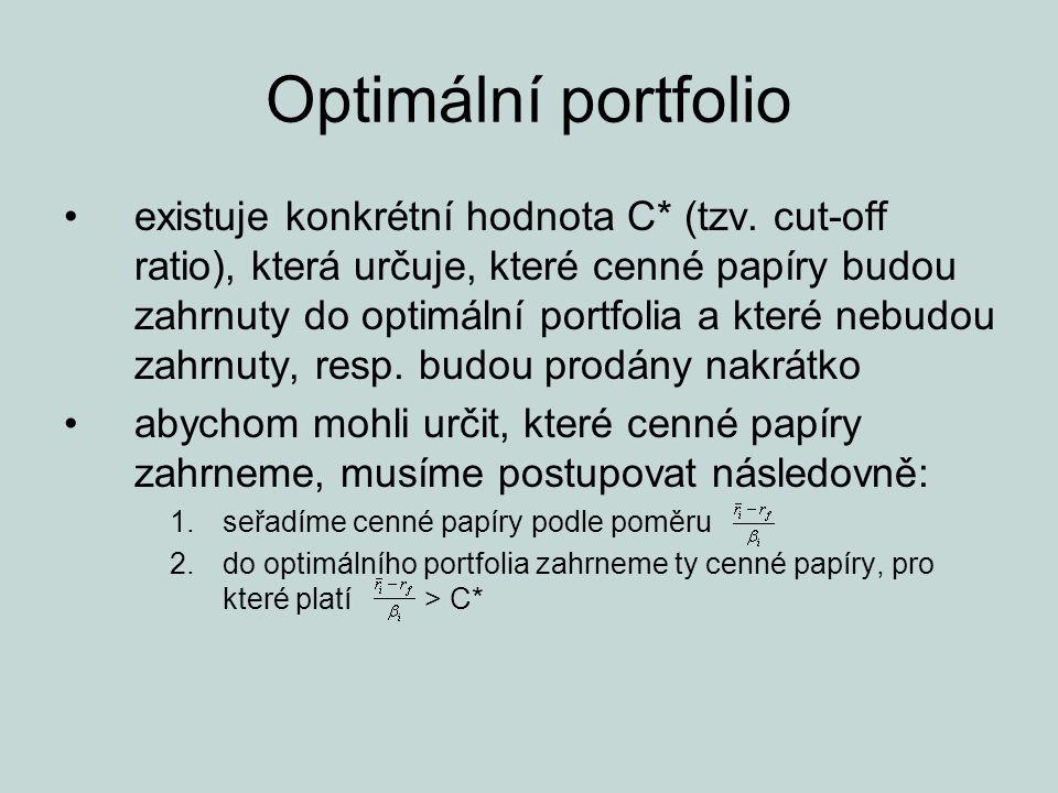 Optimální portfolio existuje konkrétní hodnota C* (tzv. cut-off ratio), která určuje, které cenné papíry budou zahrnuty do optimální portfolia a které