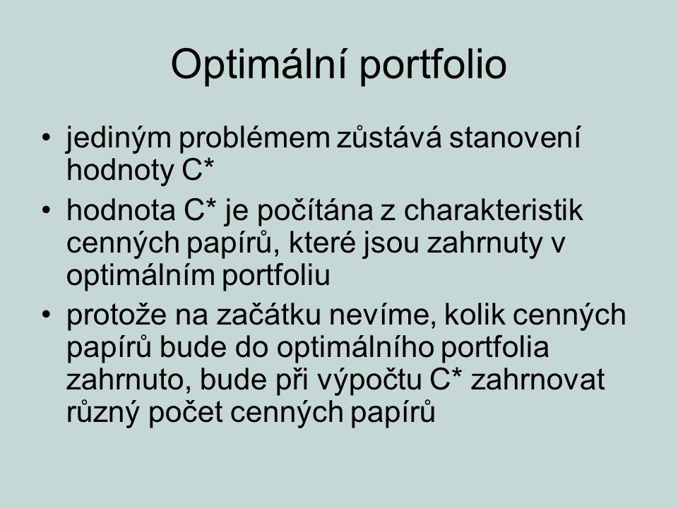 Optimální portfolio jediným problémem zůstává stanovení hodnoty C* hodnota C* je počítána z charakteristik cenných papírů, které jsou zahrnuty v optim