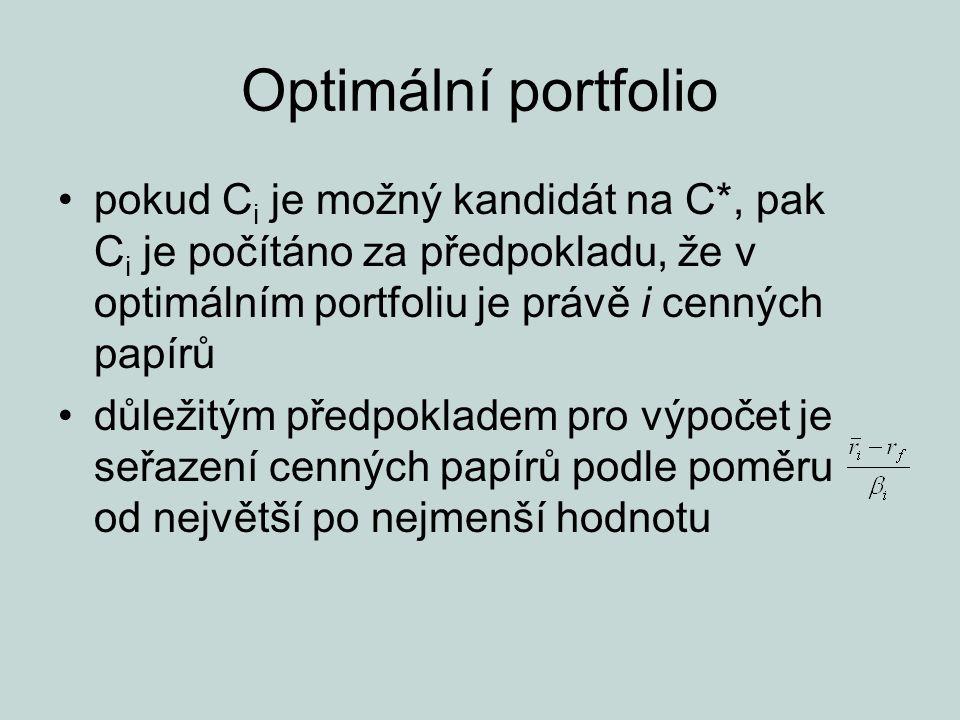 Optimální portfolio pokud C i je možný kandidát na C*, pak C i je počítáno za předpokladu, že v optimálním portfoliu je právě i cenných papírů důležit