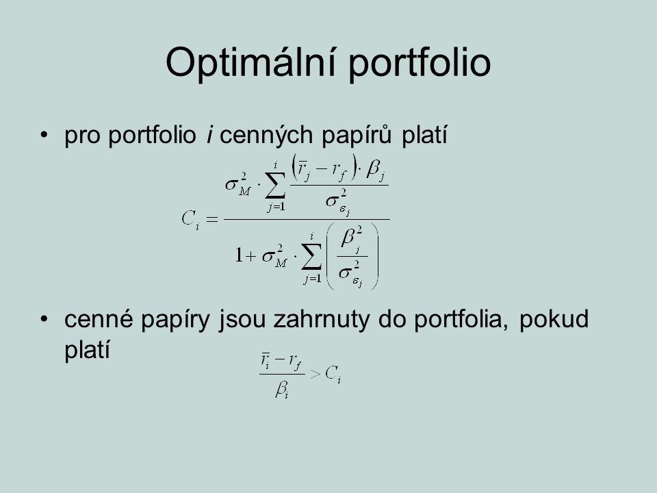 Optimální portfolio pro portfolio i cenných papírů platí cenné papíry jsou zahrnuty do portfolia, pokud platí
