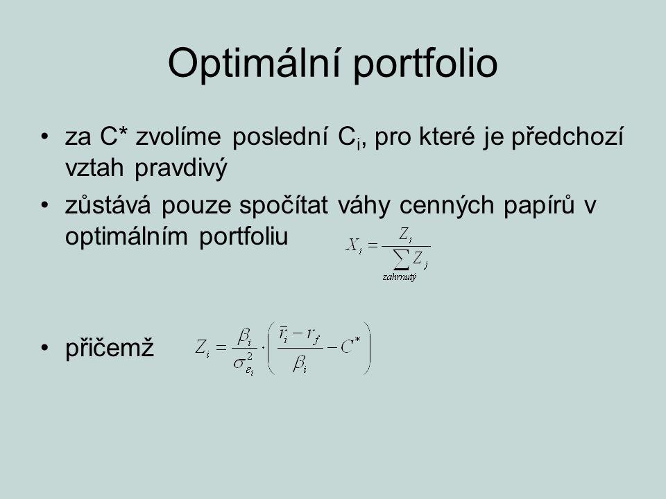 Optimální portfolio za C* zvolíme poslední C i, pro které je předchozí vztah pravdivý zůstává pouze spočítat váhy cenných papírů v optimálním portfoli