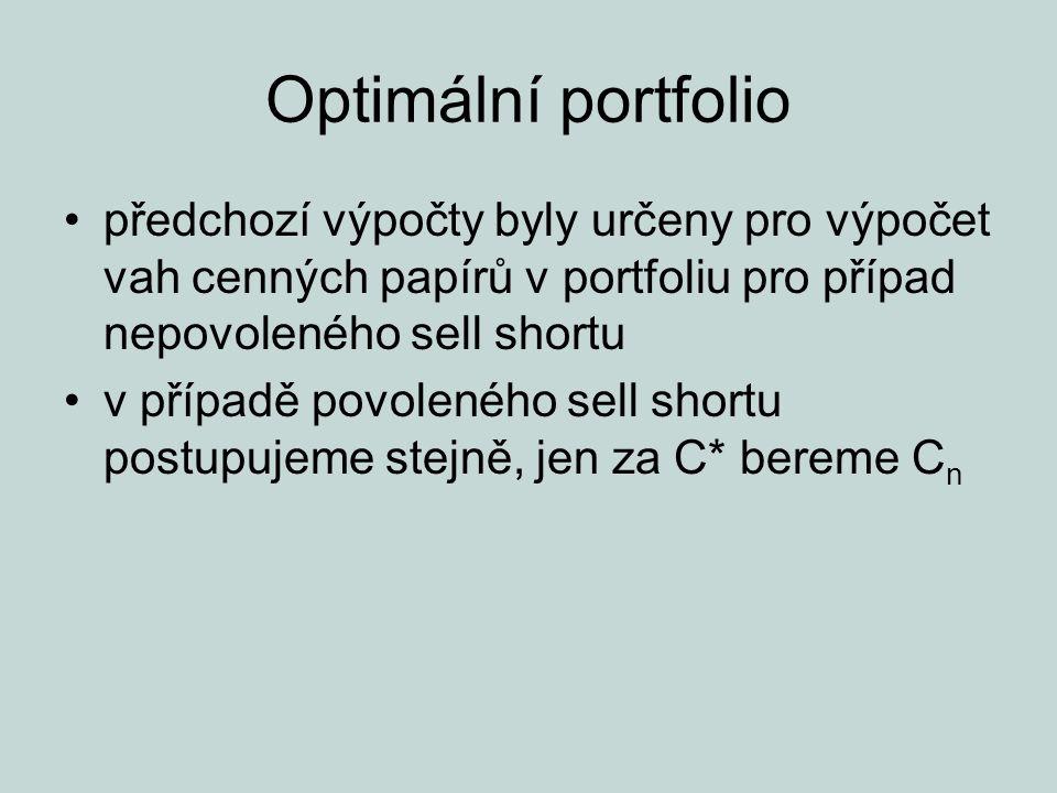 Optimální portfolio předchozí výpočty byly určeny pro výpočet vah cenných papírů v portfoliu pro případ nepovoleného sell shortu v případě povoleného