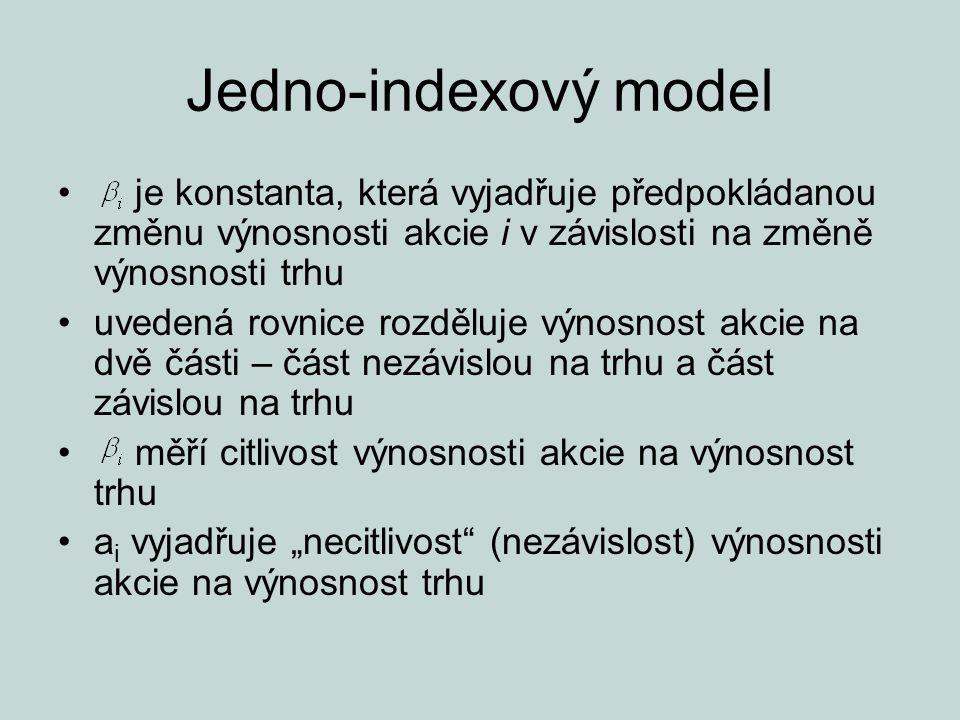 Jedno-indexový model je konstanta, která vyjadřuje předpokládanou změnu výnosnosti akcie i v závislosti na změně výnosnosti trhu uvedená rovnice rozdě