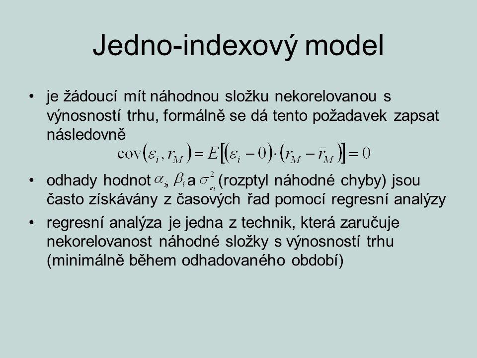 Jedno-indexový model je žádoucí mít náhodnou složku nekorelovanou s výnosností trhu, formálně se dá tento požadavek zapsat následovně odhady hodnot, a